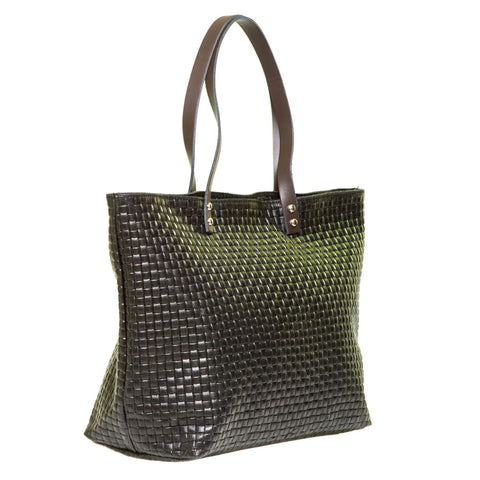 VALERIE BLACK WOVEN EFFECT LEATHER SHOPPER - www.marlafiji.com