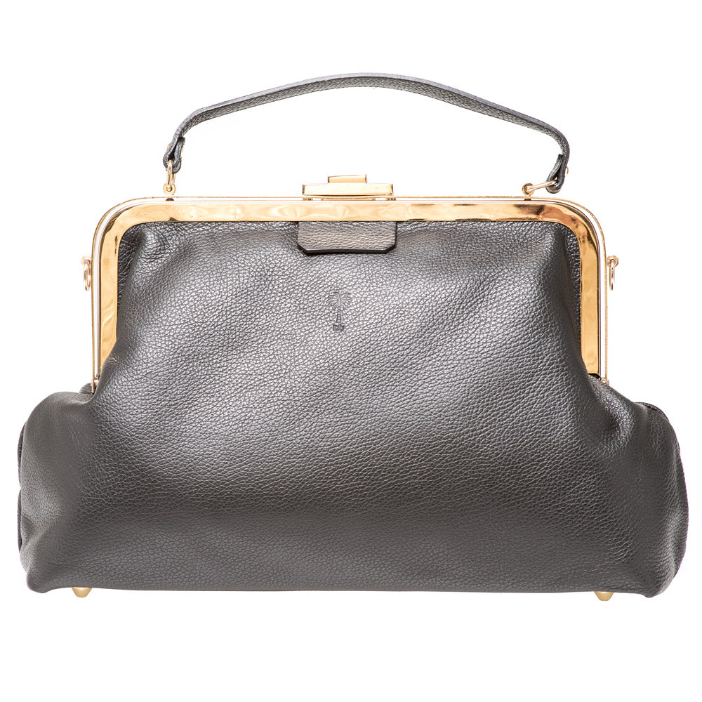 VICTORIA BLACK LEATHER HANDBAG