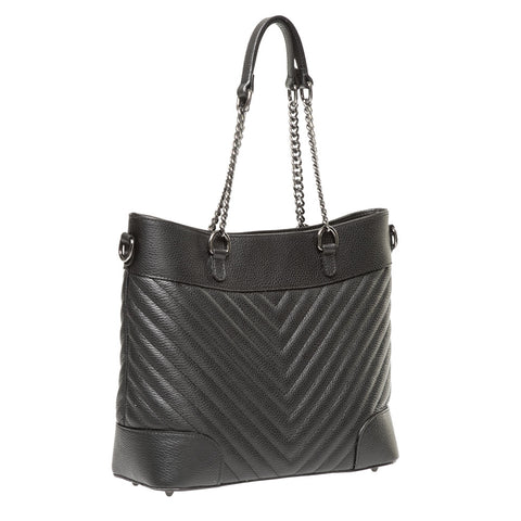 YASMIN BLACK CHEVRON EFFECT ITALIAN LEATHER SHOULDER BAG