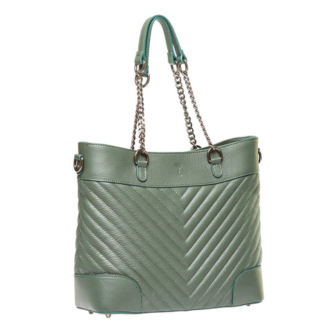 YASMIN JADE  GREEN CHEVRON EFFECT ITALIAN LEATHER SHOULDER BAG