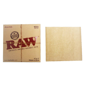 RAW Parchment Squares – 5″x5″ 100 Count - Vape Society