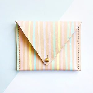 Stripes Leather Card Case