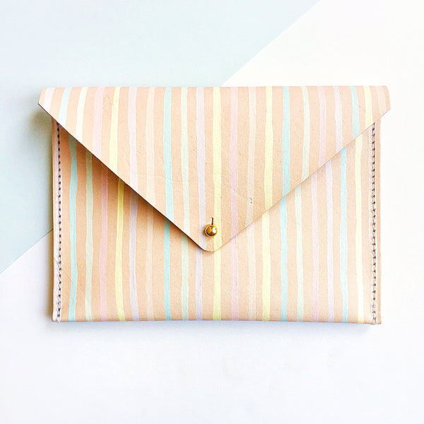 Stripes Leather Clutch