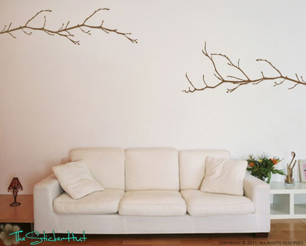 2 Budding Tree Branches Vinyl Decal Sticker - #1172