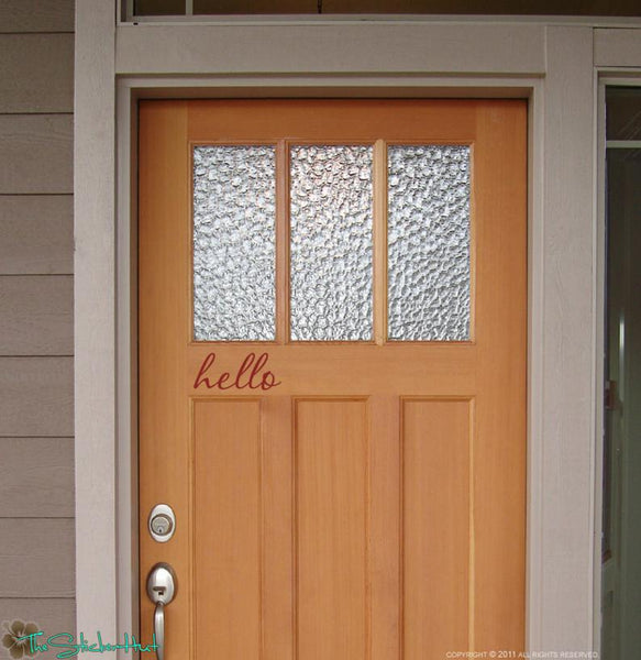 hello fancy Front Door Vinyl Stickers Decals - #1239