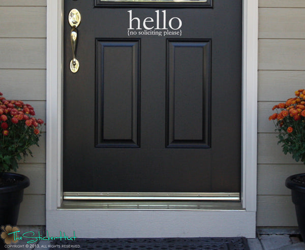 Hello No Soliciting Please Sticker Decal - #1556