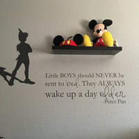 Little Boys Should Never Be Sent To Bed Peter Pan Vinyl Sticker Decals #1623