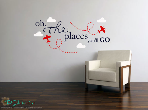 Oh The Places You'll Go Planes Clouds Decal Sticker - #1691