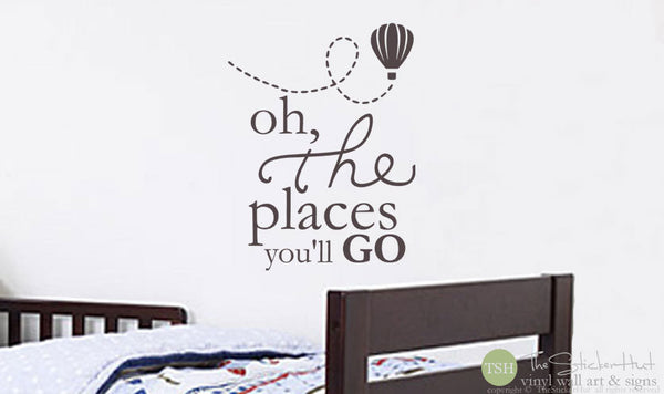 Oh the Places You'll Go with Trailing Hot Air Balloon Decal Sticker - #1776