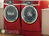 Wash Dry Laundry Room Decals Stickers - #1889