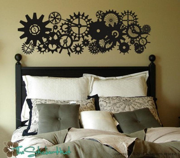 Blades Gears Clock Parts Steam Punk Style - Vinyl Lettering - Removeable - Home Decor - Bedroom - Vinyl Wall Stickers Decals Graphics 919