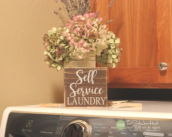 Self Service Laundry Wood Sign - M47