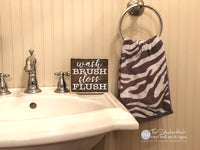 Wash Brush Floss Flush Wood Sign - M078