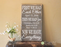 First We Had Each Other Then We Had You Now We Have Everything Wood Sign - S270
