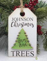 Custom Name Farm Fresh Christmas Trees Gift Tag - Ornament - Sign - Christmas Signs - Christmas decor - Tiered tray decor - Wood Sign S317