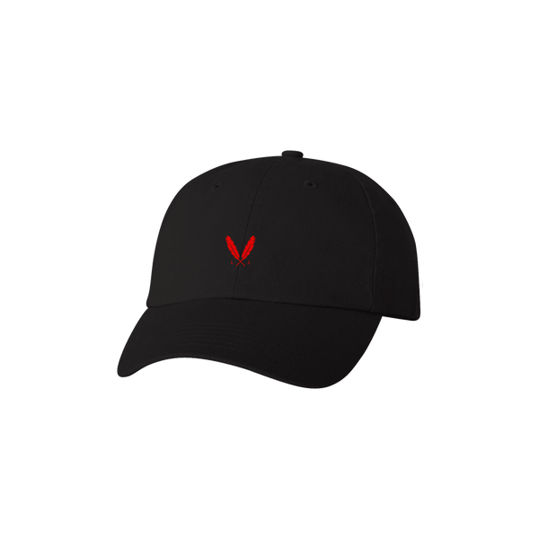 Feather Logo Dad Hat - Black/Red Logo