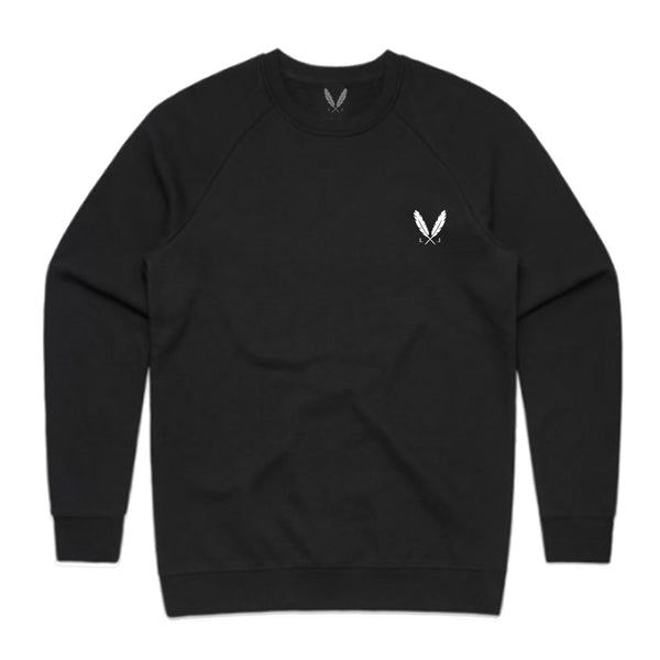 Feather Logo Crew Sweater - Black