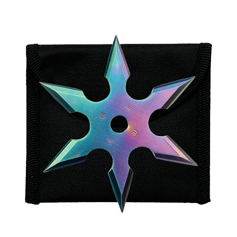"3"" Rainbow Throwing Star w/Nylon Pouch 90-19C"
