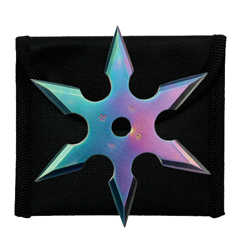 "4"" Rainbow Throwing Star with Nylon Pouch"