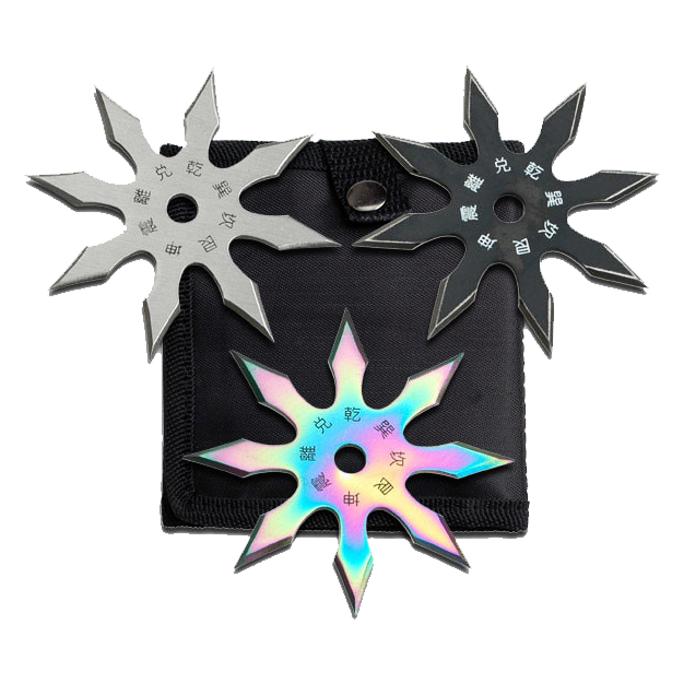 "Set of 3 - 4"" Throwing Stars With Nylon Sheath"
