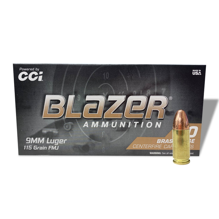 Blazer Brass 9mm Luger 50 ROUNDS AMMO