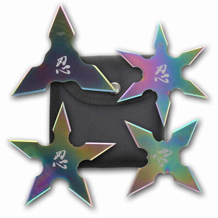 Set of 4 Throwing Stars Rainbow FM 431-4LR