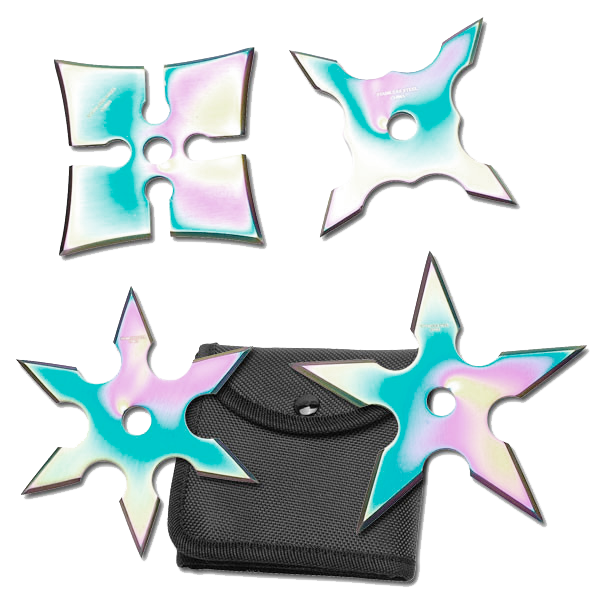 "Set of 4 - 3.75"" Rainbow Throwing Stars"