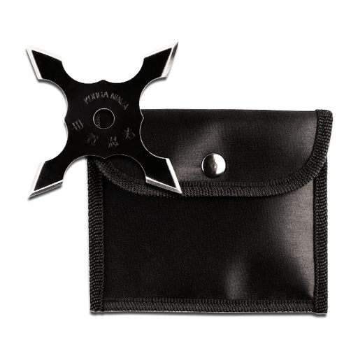 "4"" Black Throwing Star with Pouch"
