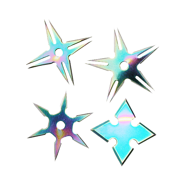 "2 1/2"" Assorted Throwing Stars Set of 4 (Black or Rainbow) RC 108"