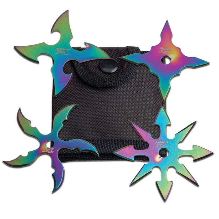"2 1/2"" Assorted Throwing Stars Set of 4 (Black or Rainbow) RC 107"
