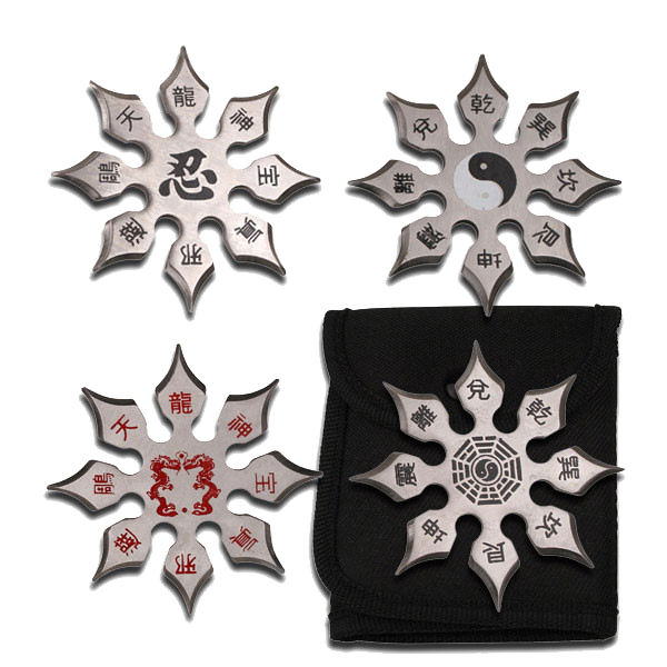 Set of 4 Throwing Stars With Sheath
