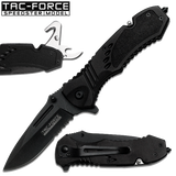 Black Spring Assisted Knife With Flip Out Can Opener & Rope Cutter