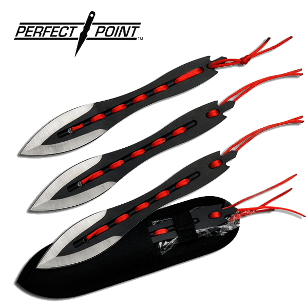 Perfect Point Set of 3 - Two Tone Laced Cord Throwing Knives With Sheath