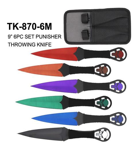 "9"" 6pc throwing knife set assorted colors"