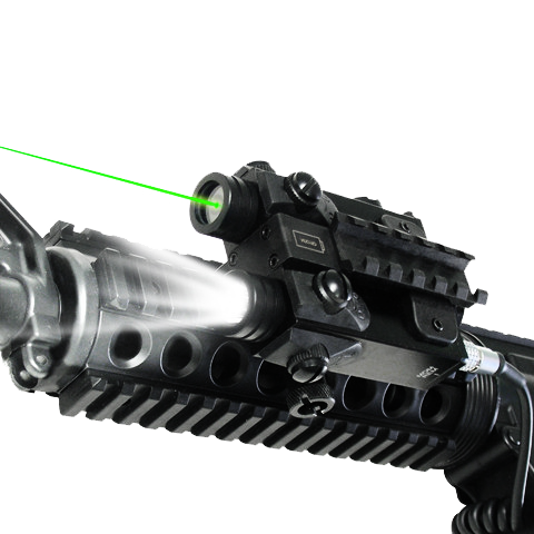 Tactical Rifle Flashlight/Green Laser Attached