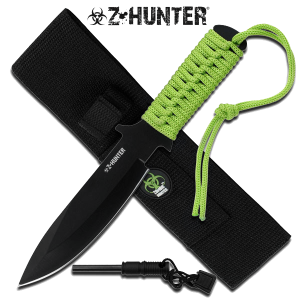 "9"" Zombie Survival Knife With Fire Starter"