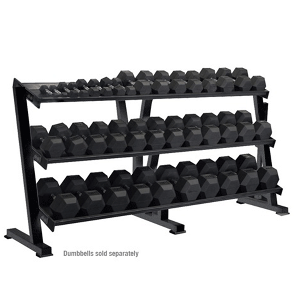 Rubber Hex Dumbbell Rack-3 Tier - Storage - MaxWOD Fitness