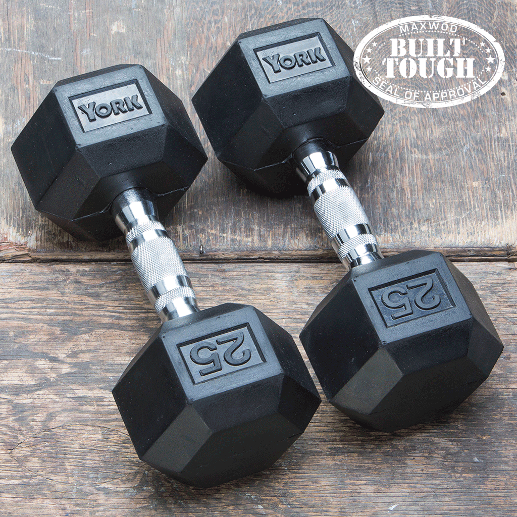 York Rubber Hex Dumbbell (Choose your own Sets KGS/LBS) - Dumbbells - MaxWOD Fitness - 1