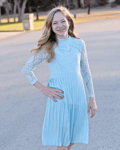 Lace and Pleates Baby Blue Dress
