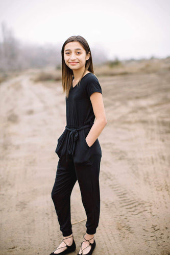 Short Sleeve Jumpsuit- Black