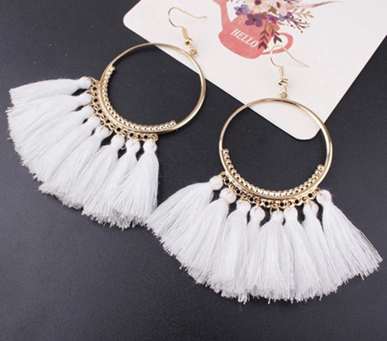 White Gold Hoop Tassel Earrings