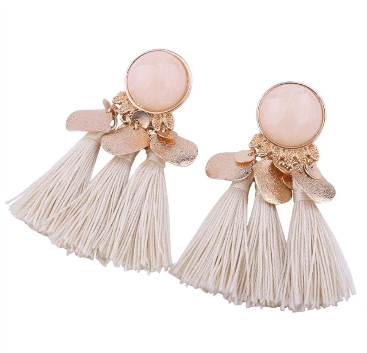 White & Gold Stone Tassel Earrings