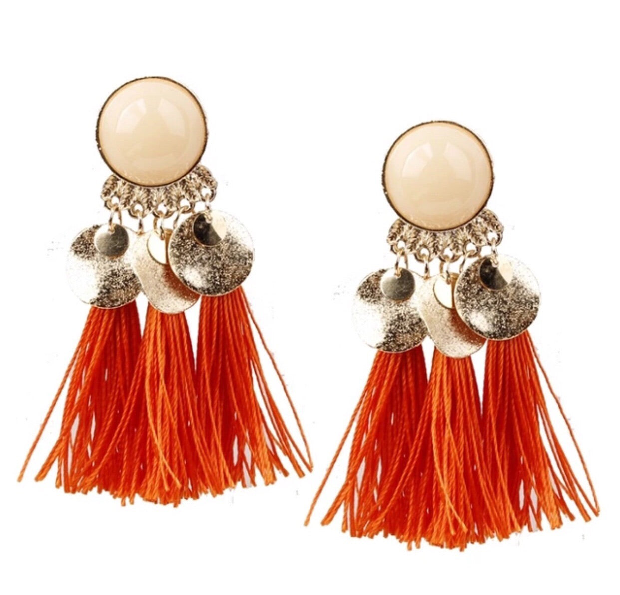 Orange & Gold Stone Tassel Earrings