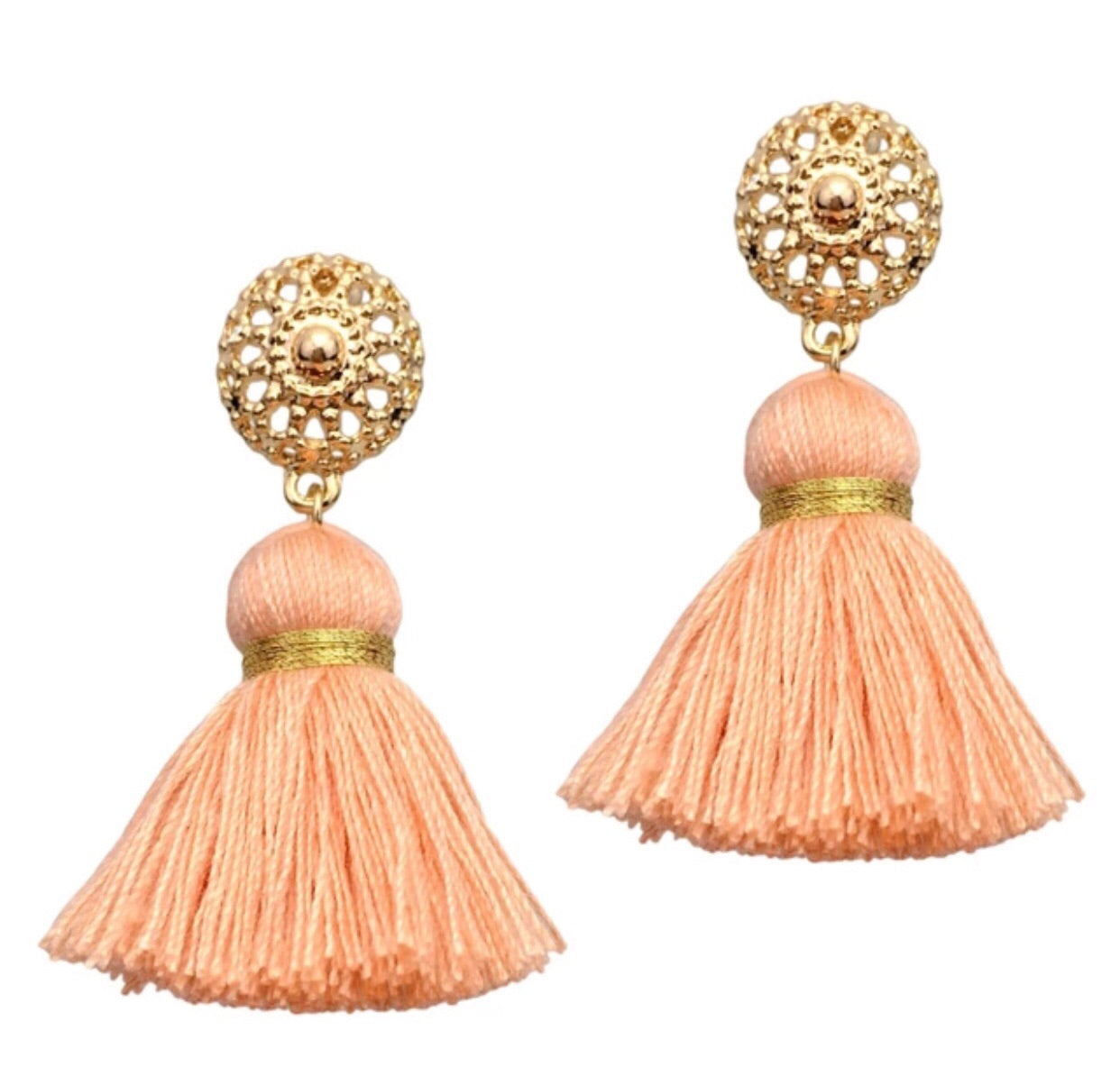 Pink & Gold Medallion Tassel Earrings