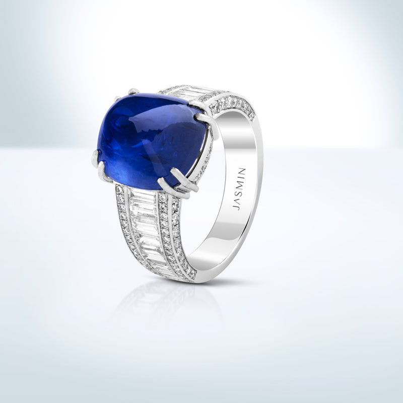 Sugar-loaf Blue Sapphire ring