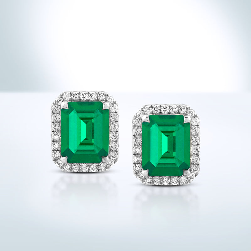 Colombian Emerald Diamond Earrings