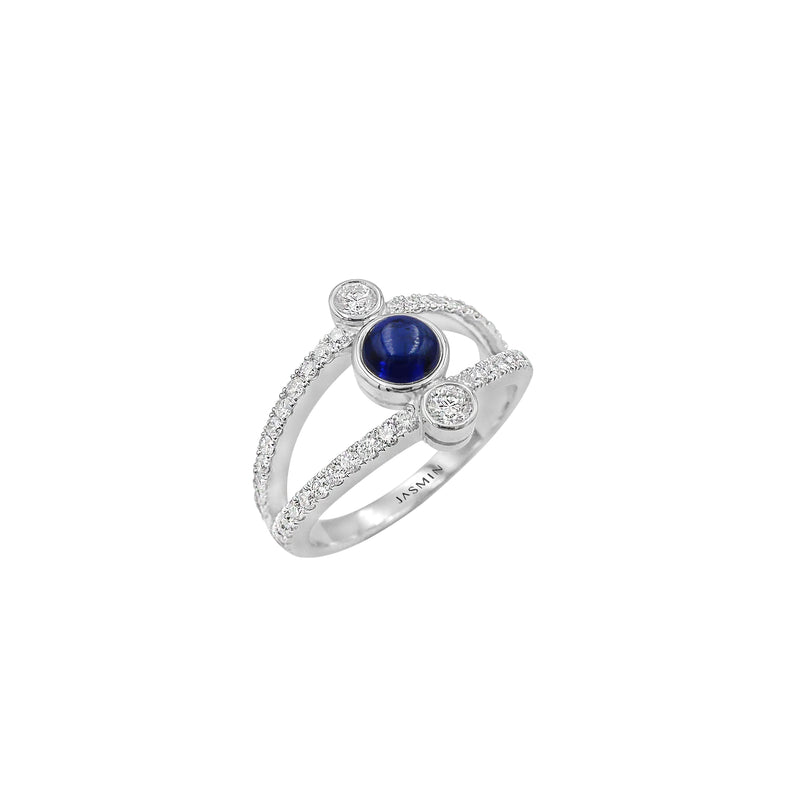 Oxygen/ Blue Sapphire/ White Gold Ring ESO-R11/1