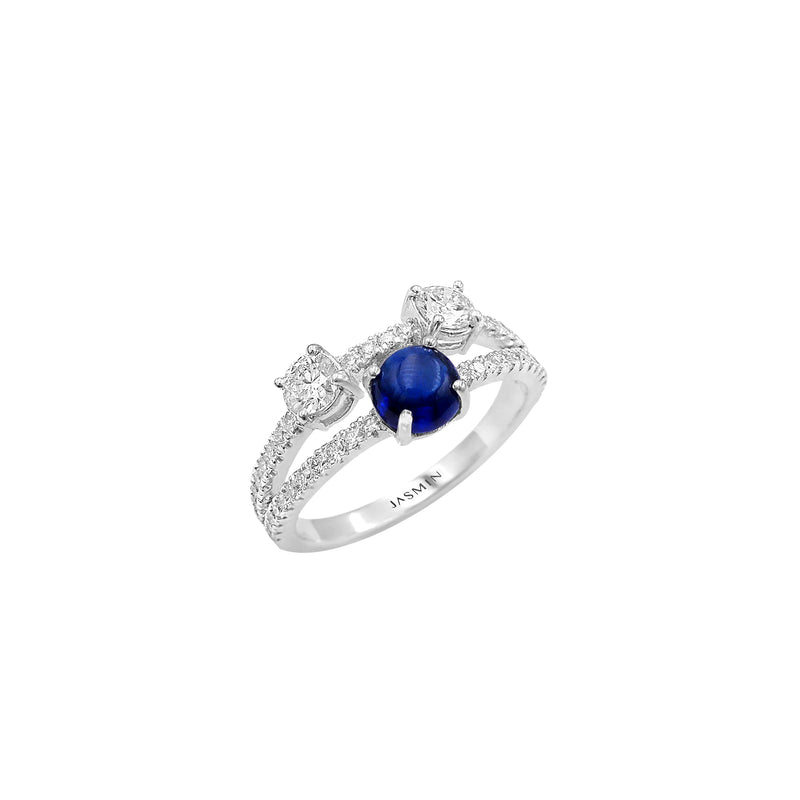 Oxygen/ Blue Sapphire/ White Gold Ring ESO-R16/1
