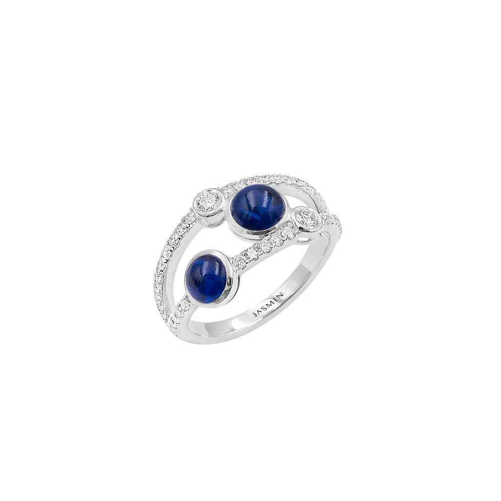 Oxygen/ Blue Sapphire/ White Gold Ring ESO-R21/1