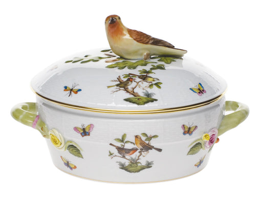 Covered Vegetable Bowl with Bird